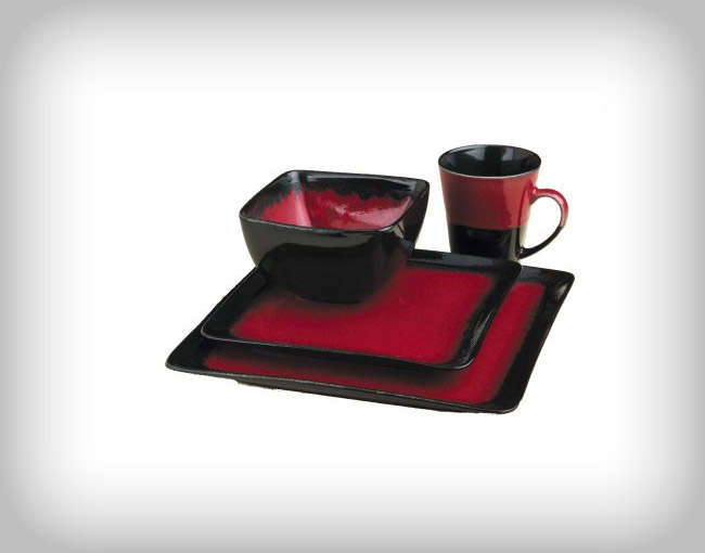 222 fifth china - Black and red dinnerware sets ...