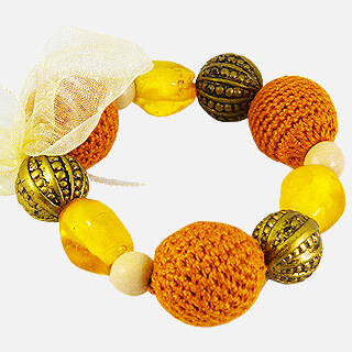 Knit Me Tie Me Bracelet - Orange